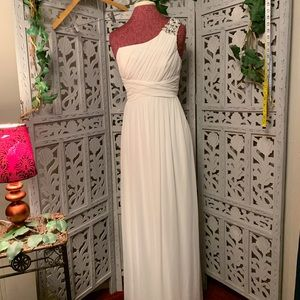 SWEET AND SIMPLE LONG WHITE PROM DRESS
